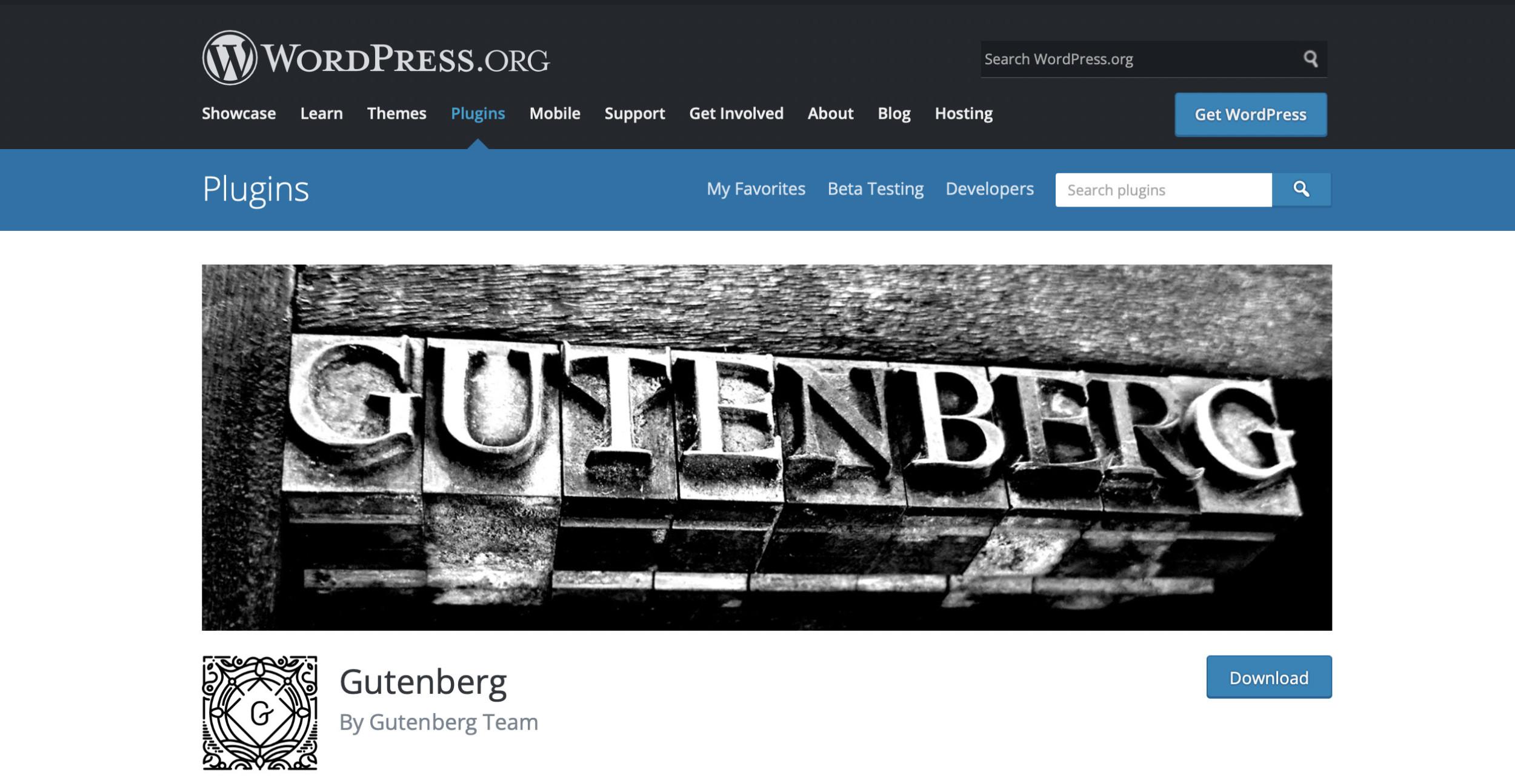 Gutenberg im WP Plugin Verzeichnis