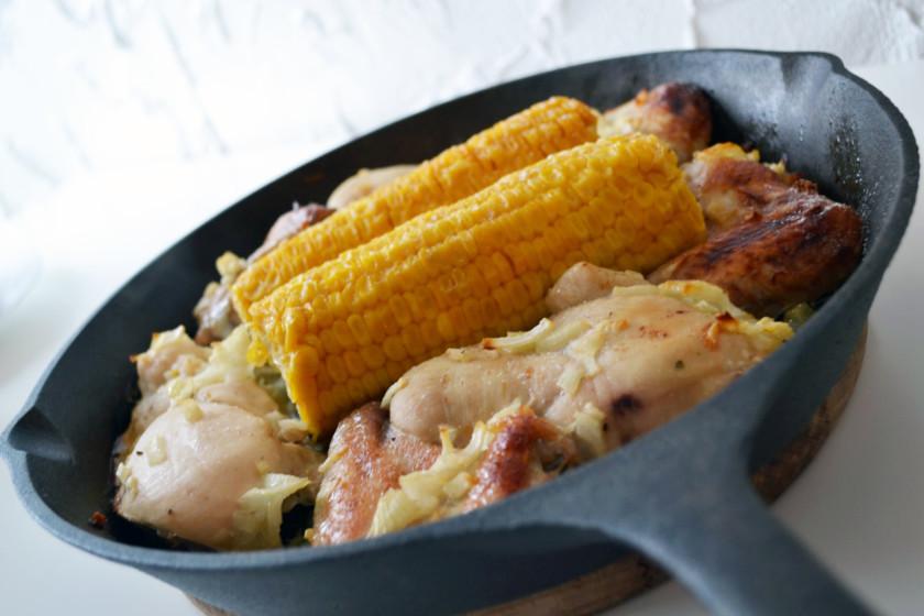 Huhn mit Maiskolben gebacken